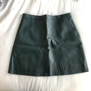 Zara Dark Green Leather Skirt